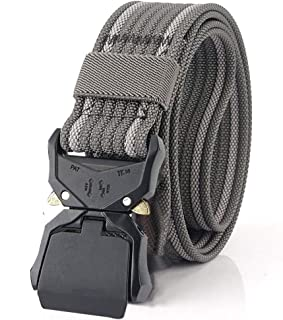 Tactical Rigger Belt For Men and Women Webbing Waist Belt 1.5 Inches with Heavy-Duty Quick-Release Buckle Nylon Belt White Gray