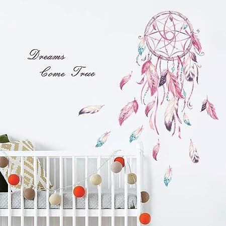 decalmile Pegatinas de Pared Atrapasueños Plumas Rosa Vinilos Decorativos Frases Dreams Come True Adhesivos Pared Habitación Niña Dormitorio Infantiles Niños Bebés