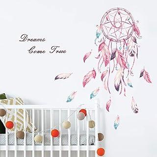 decalmile Pegatinas de Pared Atrapasueños Plumas Rosa Vinilos Decorativos Frases Dreams Come True Adhesivos Pared Habitaci...