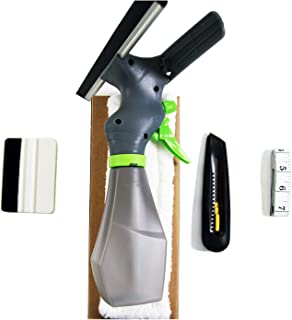 HIDBEA Window Film Installation Tool Kit Cut Film Easy Window Squeegee Cleaner, Microfiber Pad, Squeegee Scrubber, Spray Bottle, Tape Measure, Utility Knife, Complete Glass Tint Application Kit