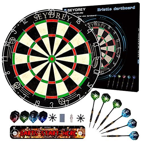 Seydrey Dartscheibe Kork Dartscheibe mit Pfeilen Offizielles Steeldartscheibe Dartscheibe Steeldart Dartscheibe Set 6 Dartpfeile Metallspitze,12 Flights,Rotierender Nummernrin +Staple-Free Bullseye
