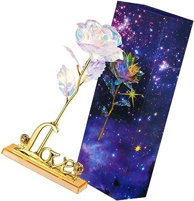 Amazon Com Lioobo 24k Rose Flower Figurine Gold Foil Luminous Rose With Love Letter Base Desktop Decorative Ornaments Gift For Women Home Kitchen