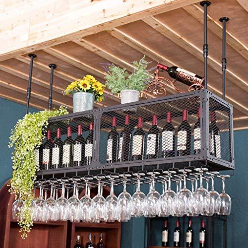 TTWUJIN Estante para vino, bar, restaurante, estante para copas de vino, rejilla para el techo del hogar, soporte para botella de vino con arte de hierro, soporte para alenamiento de vajilla al revés