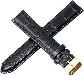 20MM Alligator Grain Real Leather Watch Strap 8.5 Inch Black Gold Buckle Ftis Grivola Ortlet