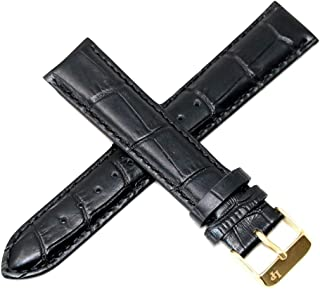 Lucien Piccard 20MM Alligator Grain Real Leather Watch Strap 8.5 Inch Black Gold Buckle Ftis Grivola Ortlet