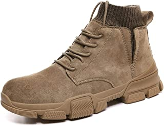 Happy-L Shoes, Retro Ankle Work Boot for Men High Top Boots Round Toe Lace up Style Wear-Resistant Elastic  Socks Collar Suede Upper Experienced Stitched Fleece Inside
