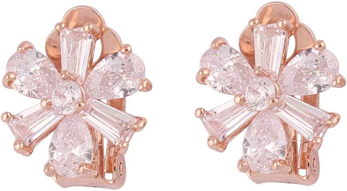HAPPYAN High-grade Copper AAA Cubic Zircon Materia Clip on Earrings No Pierced for Women Party Wedding Senstive ears hypoallergenic Clip-ons