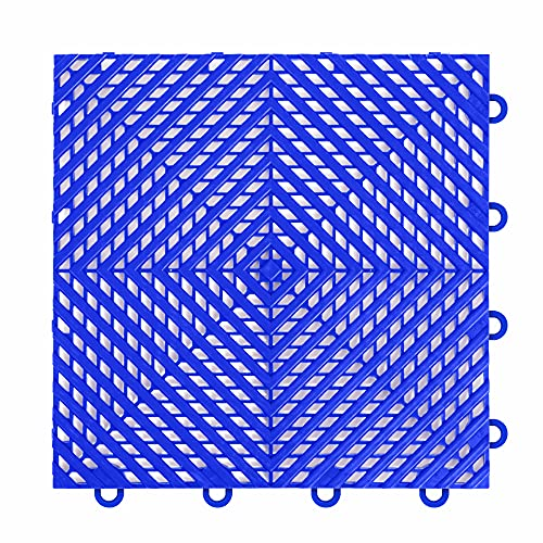 "IncStores ⅜ Inch Thick Nitro Interlocking Garage Floor Tiles | Plastic Floor Tiles for a Stronger and Safer Garage, Workshop, Shed, or Trailer | 12""x12"" Tiles, Vented, Blue, Pack of 52"