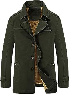 WSLCN Casaco Masculino Trench Coat Clássico Leve Corta Vento Casual Casaco de pelúcia Outono e Inverno