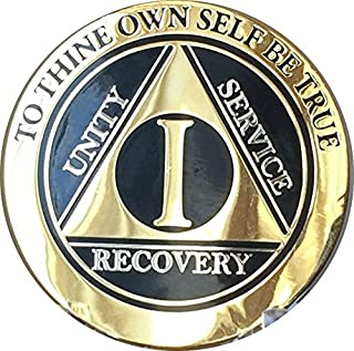RecoveryChip 1 Year Elegant Black Gold Silver Bi-Plated AA Medallion Alcoholics Anonymous Chip