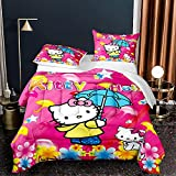 Kids Boys Girls Hello Kitty Bed Set Twin Comforter Set Hello Kitty Fuchsia Bedding Comforter Set Quilt Set for Kids Toddlers Teens