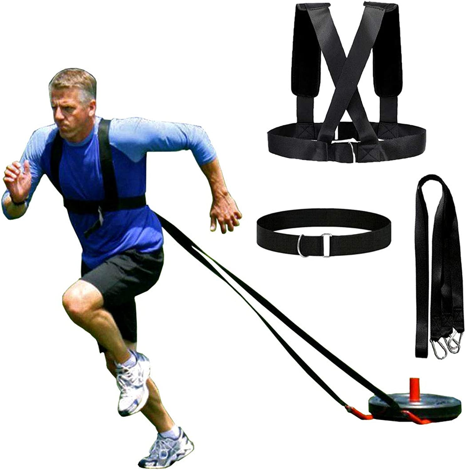 XJunion Speed Harness Trainer Power Sled Workout Harness, Tire Pulling Harness, Football Workout Equipment Sled Harness Pull Strap Resistance Training Team Sports Speed Agility Training Kits