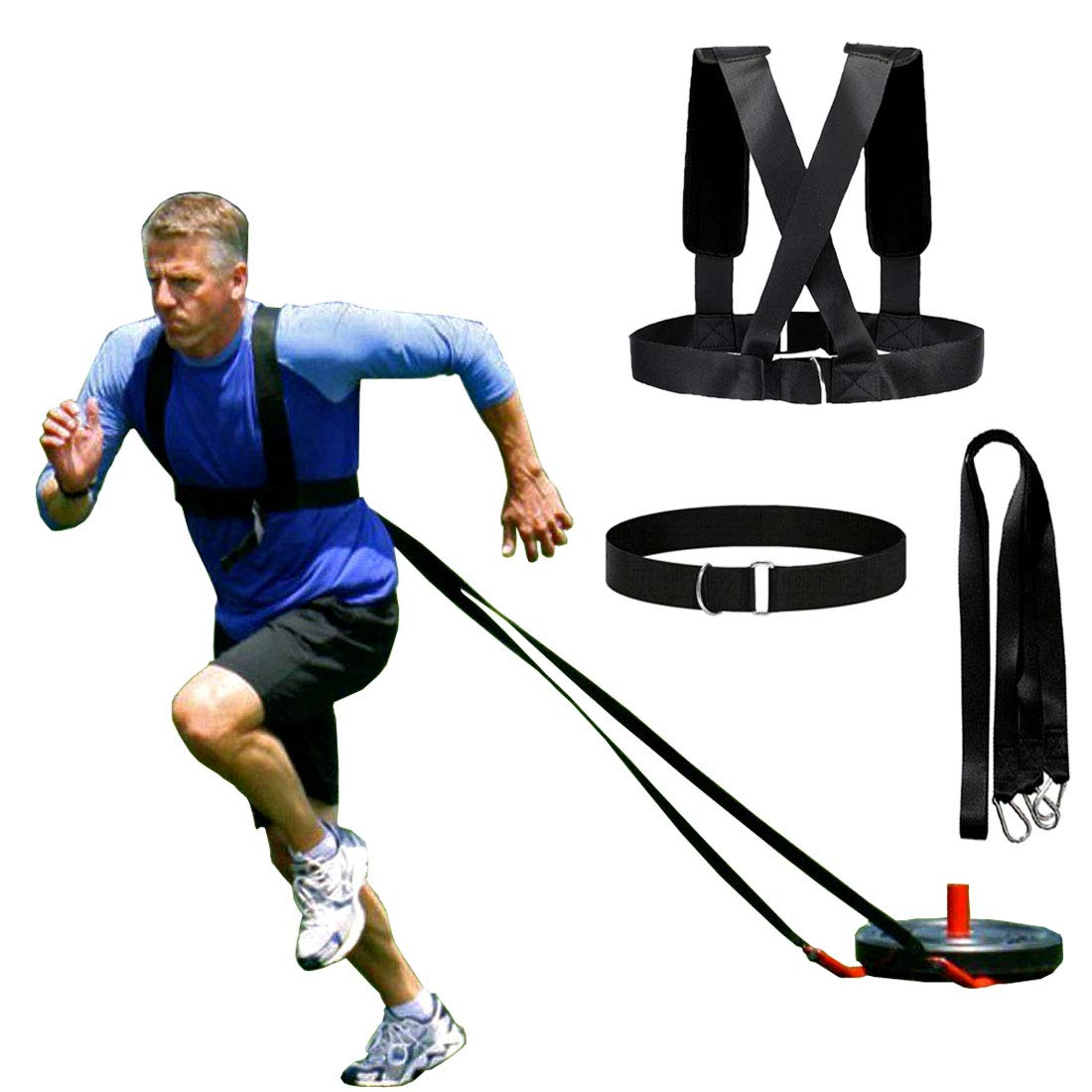 Heavy Duty Sled Harness Pull Strap Double Speed Exerciser Band Workout Trainer