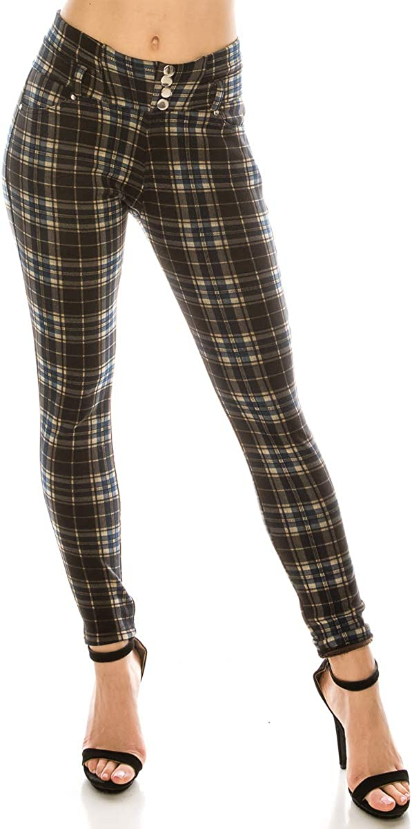 LA12ST Plaid Print Button Pants Fashi Printed Soft Elastic Max 65% OFF Today's only Waist