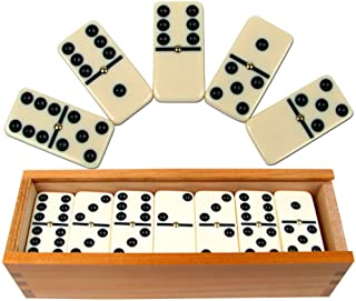 Premium Set of 28 Double Six Dominoes with Wood Case, Brown, 28 Piece (12-2408)