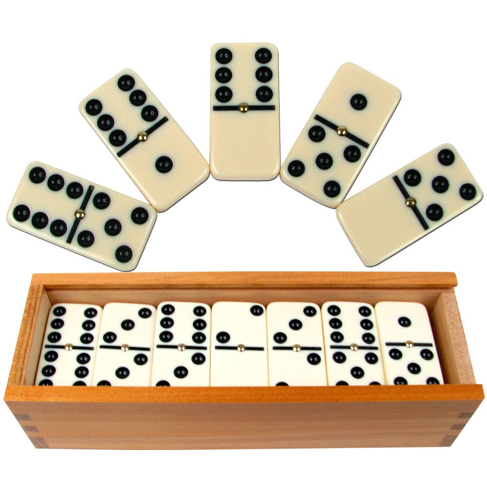 Buy Dominoes Set- 28 Piece Double-Six Ivory Domino Tiles Set, Classic  Numbers Table Game with Wooden Carrying/Storage Case by Hey! Play! (2-4  Players) Online at Low Prices in India - Amazon.in