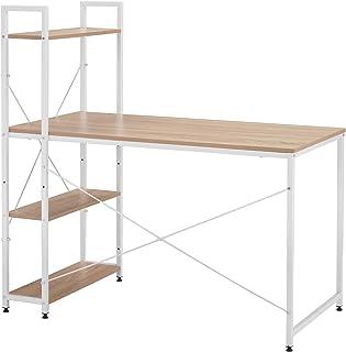 SOSTUDIO Bureau d'ordinateur avec 4 étagères de rangement - Table d'étude avec étagère pour petits espaces - Station de tr...