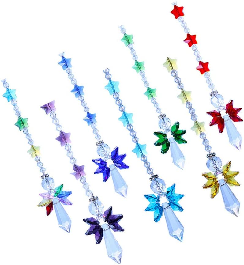 Cabilock 7pcs Angel Crystal Suncatcher Hanging Ornament Windows Star Chandelier Prisms Pendant Suncatcher Garden Rainbow Maker Fengshui Decorations 7 Color