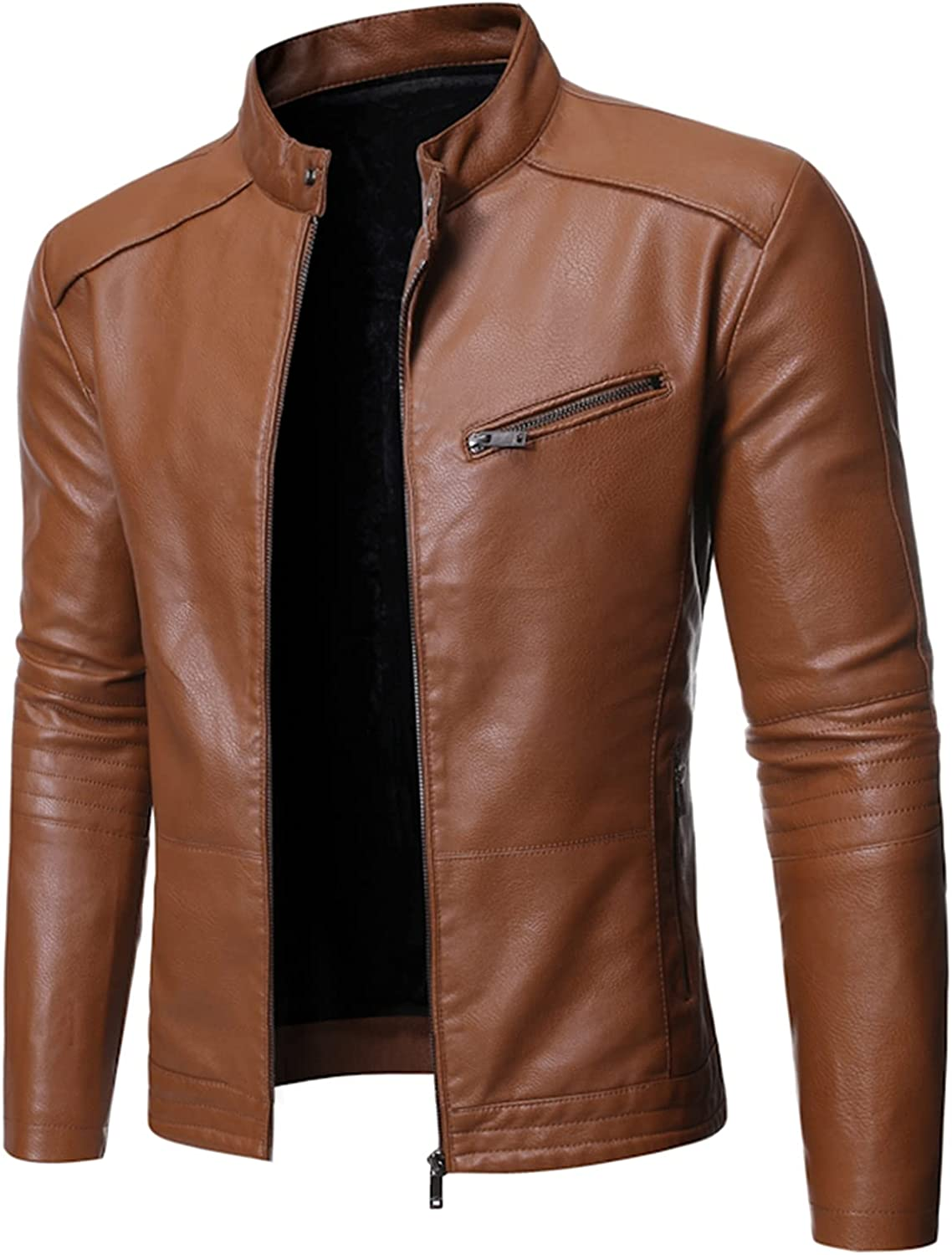 Mens Casual Stand Collar Leather Jacket,Fashion All-Match Personality Coat,Biker Motorcycle Jackets