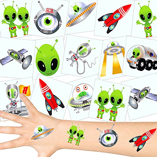 German-Trendseller ® - Marsmännchen Tattoos Set ┃ NEU ┃ Astronauten Party ┃ Kindergeburtstag ┃ Mitgebsel ┃72 Tattoos