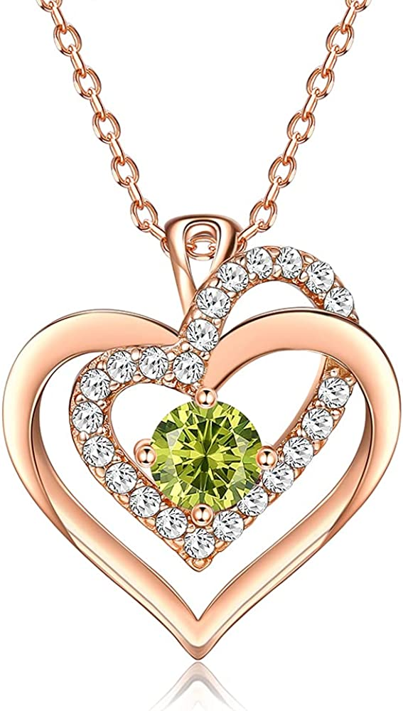 MUAIOLAUS Love Max 61% OFF Max 61% OFF Heart Necklace 18K Plated Gold Birthstone Crystal