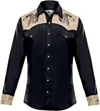 Modestone Men's Embroidered Fitted Western Camisa Vaquera Horse Super Suede Black