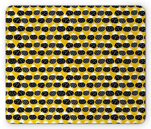 Mausmatte,Spiel Mauspad,Ananas-Mauspad,Exotische Früchte Moderne Pastellillustration Hipster Geometrische Effekte,Matte Mäuse Mousepad Gaming-Mauspads Für Büro & Zuhause,Senf Und Anthrazit