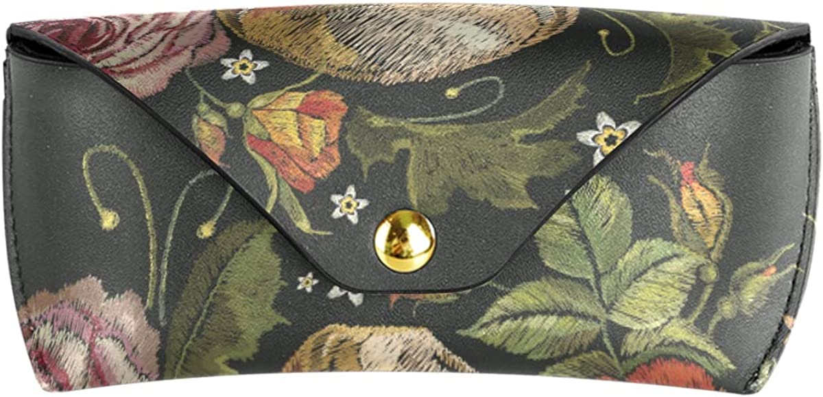 Multiuse Sunglasses Case Eyeglasses Pouch Vintage Skull Leaf Flower Roses Portable gift PU Leather Goggles Bag