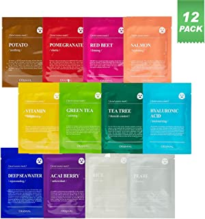Best DERMAL Color Facial Essence Mask Sheet 25g Pack of 12 - Nutritious Ingredients Moisturizing Facial Mask Sheet Combo Set, 100% Natural Sheet, Water Type Refreshing Essence, Quick Absorption Review