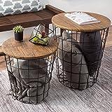 Lavish Home 80-ENDTBL-2 (Set of 2) Nesting End Storage Convertible Round Metal Basket Wood Veneer Top Accent Side Tables, Dark Brown