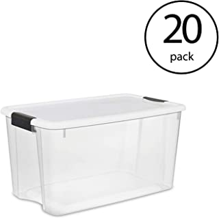 Sterilite 70 Quart Ultra Latch Storage Box with Lid & See-Through Base (20 Pack)