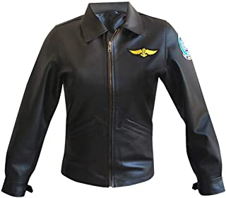 KAAZEE Womens Kelly Top Gun Charlie McGillis Aviator Pilot Black Faux and Real Leather Jacket