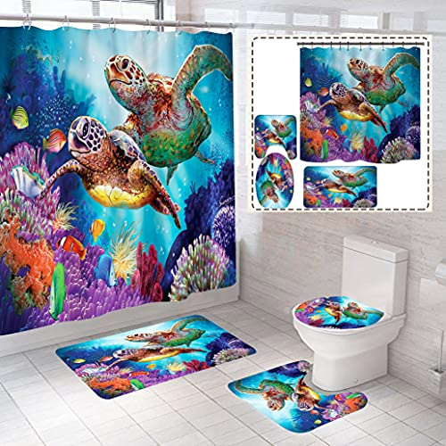 4 Piece Fun Underwater Sea Turtle Coral Oceans Fish Animal Shower Curtains Sets with Non-Slip Rugs, Toilet Lid Cover and Bath Mat, Bathroom Sets with Shower Curtain and Rugs and Accessories