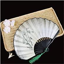 Ventilador de Mano Plegable, Estilo japonés Señoras de Mano Retro Retro Pintado a Mano Danza Señoras Regalo del Arte del Ventilador (Color : E)