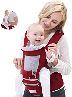 【安全基準認証合格6WAY】抱っこ紐 多機能 ヒップシート単体使える【2020最新改良版】おんぶ可 新生児から乳児まで 0-36ヶ月使える 対面抱っこ 前向き抱っこ 腰抱っこ 四季兼用 通気メッシュ 装着簡単 疲れにくい腰ベルト 軽量 レット