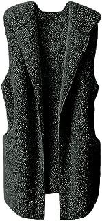Womens Vest Winter Warm Hoodie Outwear Casual Coat Faux Fur Sherpa Jacket Chaofanjiancai