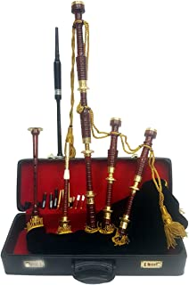 Scottish Great Highland Bagpipe Golden Engraved Brass Mounts With Black Velvet Cover