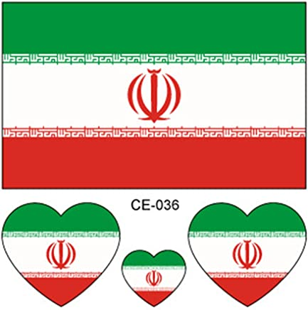 10 PCS National Flag Tattoos, Ollivan 2018 Russia World Cup Country Temporary Tattoos Stickers, Football Soccer Fans Mini Flags, Waterproof Sweatproof Heart-Shaped Tattoo Stickers on Face Arm, Suitable for World Cup and Olympic Sports Fans (Iran)