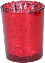 Fenteer Glass Tea Light Candle Votive Wedding Decoration - Mosaic Red, as described
