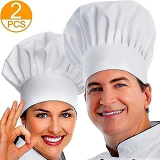 ipekar Chef Hat, 2PCS Adult Premium Adjustable Elastic Baker Kitchen Cooking Chef Cap, for Adult/Kids , White