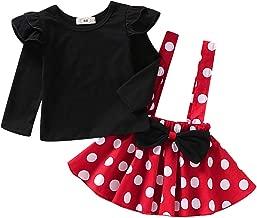 Baby Girls Skirts Set Ruffle Cloth +Polka Dot Overall Dress Bow Polka Dot Skirt Set