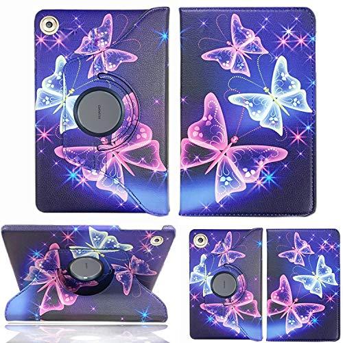 Lederhülle / Klappetui für Huawei MediaPad M5 Lite 10 mit 10,1 Zoll, um 360 Grad drehbar, Standfunktion, auf mehrere Winkel einstellbar Butterfly Blue Hülle 10.1