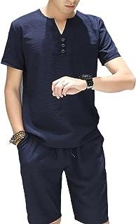メンズ セットスーツ ルームウェア 上下セット ハーフパンツ Tシャツ カジュアル カレッジ 体型カバー サイズ豊富 部屋着