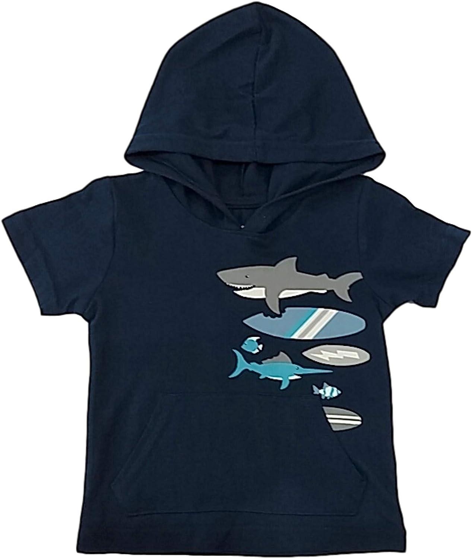 Infant & Toddler Boys Blue Hoodie Shark Surfer Tee Shirt Beach T-Shirt