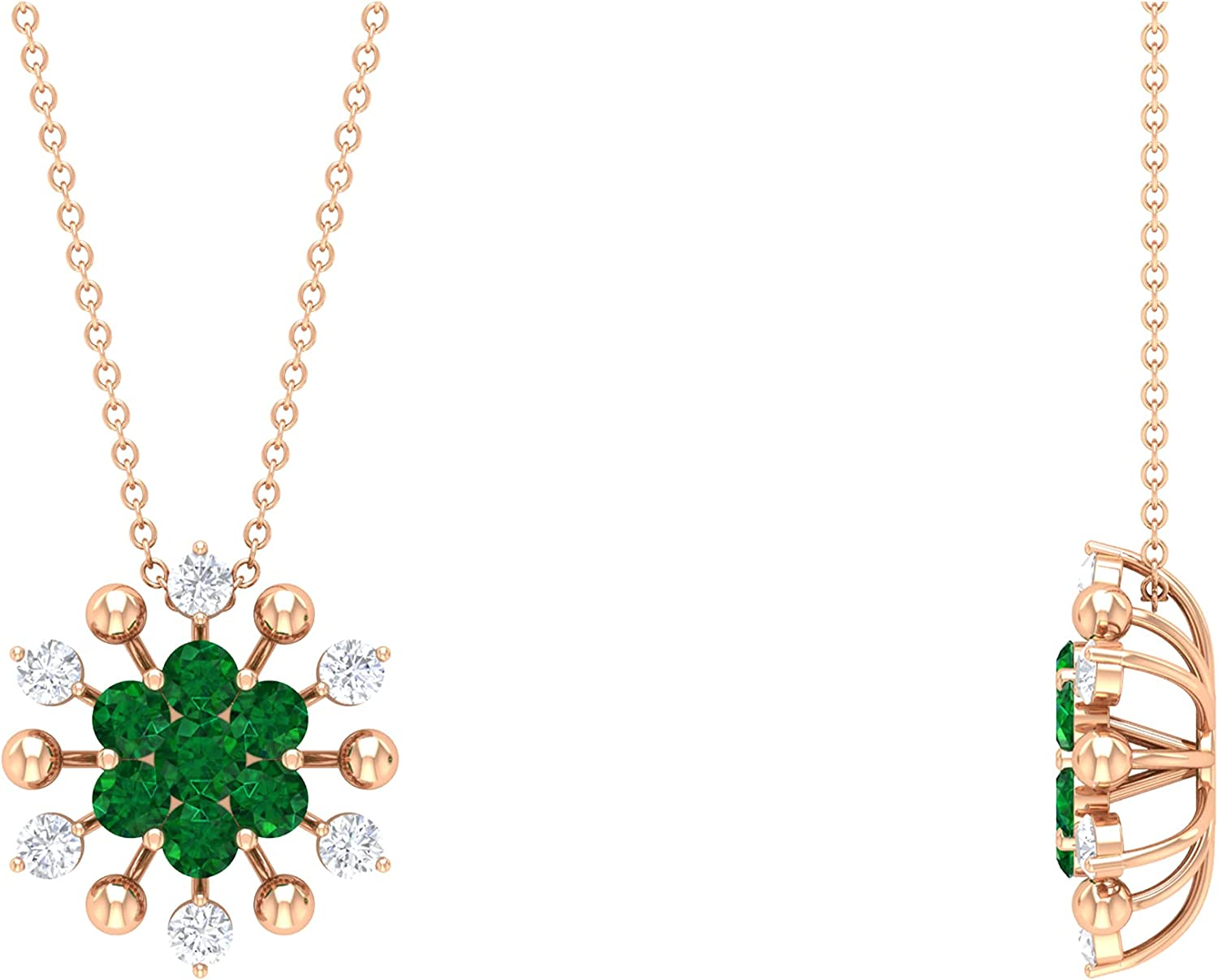 Overseas parallel import regular item 1.25 CT Created Emerald and High quality Neckl Cluster Floral Pendant Diamond