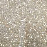 Stoff Meterware Baumwolle Natur Sterne weiß Schneeflocken