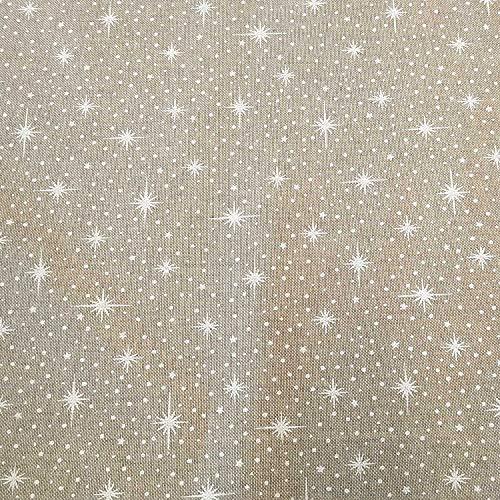 Stoff Meterware Baumwolle Natur Sterne weiß Schneeflocken Weihnachtsstoff Dekostoff