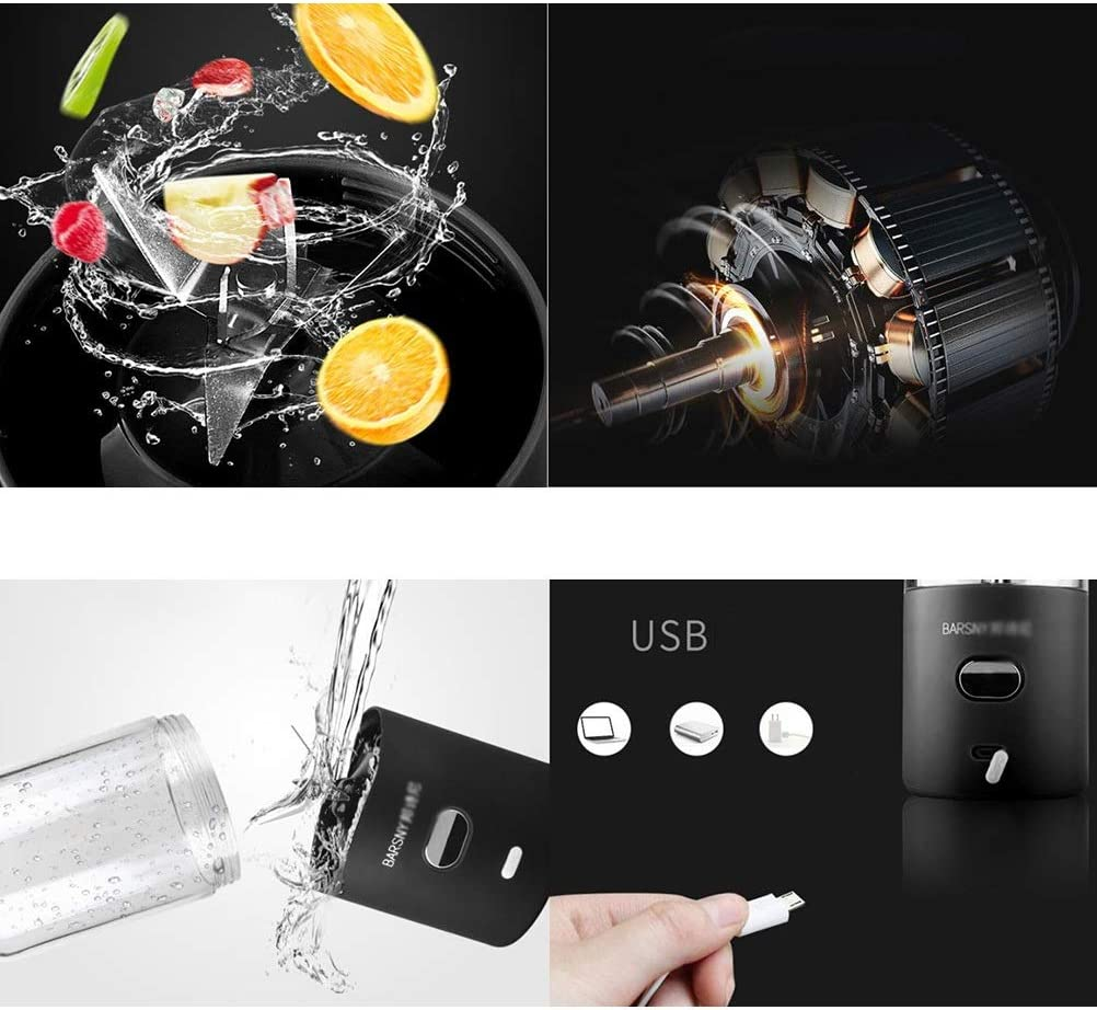 LI_HUA Batidora portátil Mini Juicer Cup Exprimidor de Frutas Mezclador de Frutas al Aire Libre Máquina Hogar USB Recargable 6 Cuchillas 500 ml (Color : Black) Blue