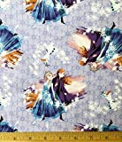 """Officially Licensed Fabric - Features ELSA, ANNA, and OLAF Tossed on a Lavender Background 1/2 Yard x 44"""" Wide -- Unfinished Edge to Unfinished Edge (Need More than 1/2 Yard? Whenever Possible This Will Ship as ONE CONTINUOUS PIECE!) 100% Soft Cotton..."""