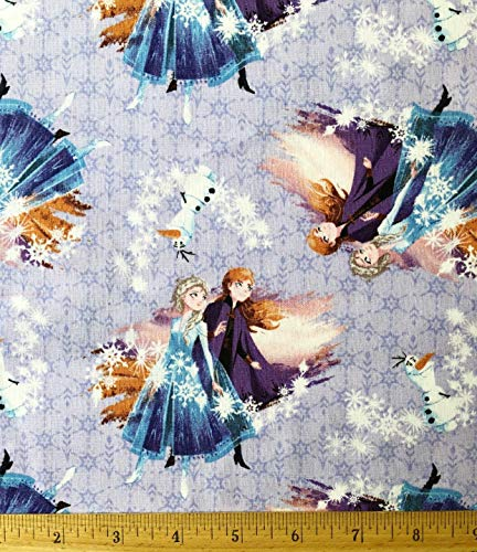"""1/2 Yard - Frozen Destiny Awaits Lavender Cotton Fabric - Elsa Anna & Olaf(Great for Quilting, Sewing, Craft Projects, Throw Blankets & More) 1/2 Yard X 44"""""""